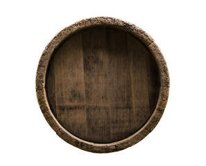 Wine wooden barrel isolated on white background