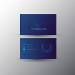 Photographer card and Business card, vector design