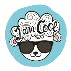 Vector illustration with stylish sheep head in sunglasses. I am cool quote