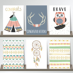 Light blue pink gold card template with feather,indian tent and