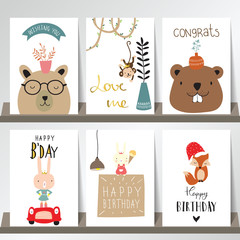 Colorful collection for banners,Flyers,Placards with fox,rabbit,