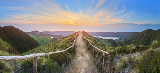 Foto op Canvas Landschappen Mountain landscape with hiking trail and view of beautiful lakes, Ponta Delgada, Sao Miguel Island, Azores, Portugal