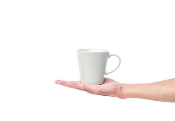 Hand hold empty mug on a white background
