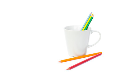 Pencil color in empty mug, happy and relax concept