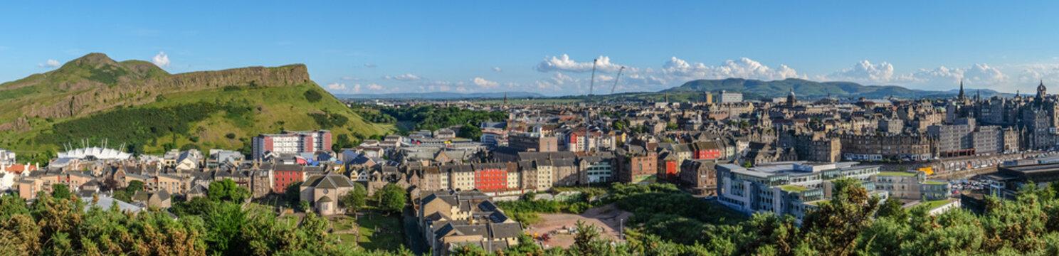 Panorama on mountain view point over Edinburgh city.