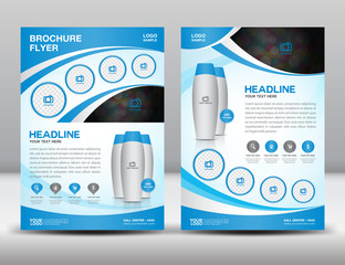 Blue business brochure flyer design layout template in A4 size m