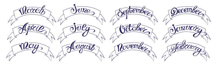 Set labels with hand-drawn lettering, months names of year, black on white