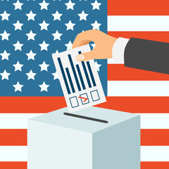 USA election concept. Male hand putting voting paper in a ballot box, flat design, vector illustration