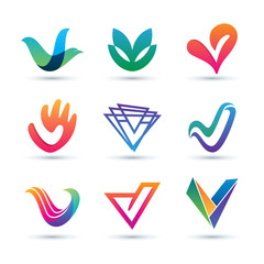 Set of Abstract Letter V Logo - Vibrant and Colorful Icons Logos