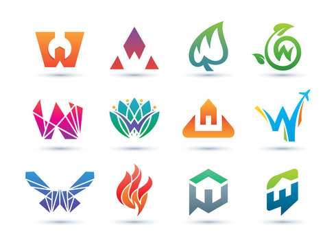 Set of Abstract Letter W Logo - Vibrant and Colorful Icons Logos