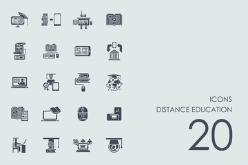 Set of distance learning icons