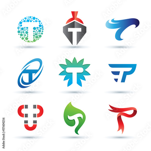 """""""Set Of Abstract Letter T Logo"""