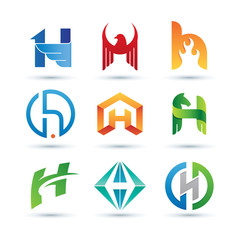Set of Abstract Letter H Logo - Vibrant and Colorful Icons Logos