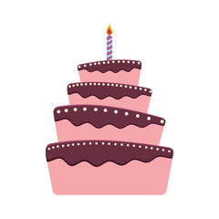 cake candle party cream bakery birthday icon. Isolated and flat illustration. Vector graphic