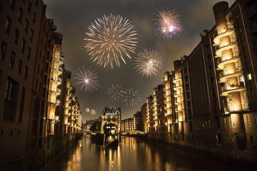 Feuerwerk in der Speicherstadt Hamburg