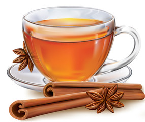 Tea cup with cinnamon and anis on white background. Vector illustration