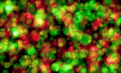 Bokeh gradient abstract green and red for Christmas on black bac