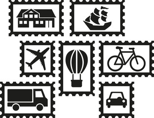 Collecting stamps - set of stamps with icons