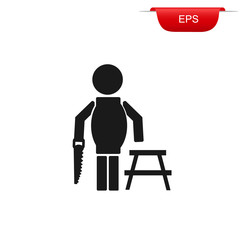 construction worker with hand saw, icon, vector illustration