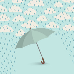 Umbrella over cloudy sky. Rainy weather background. Spring or fall wallpaper. Clouds pattern