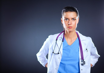 Beautiful young doctor portrait with stethoscope