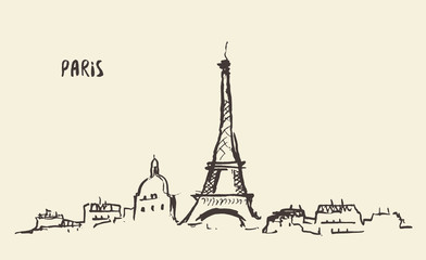 Sketch Eiffel Tower Paris, vector illustration.