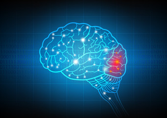 Abstract technology and science of intelligence connectivity network in Human brain, vector illustration