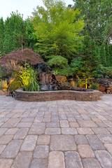Paver Brick Patio with Waterfall Pond