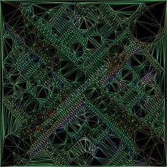 Green geometric line on black business background