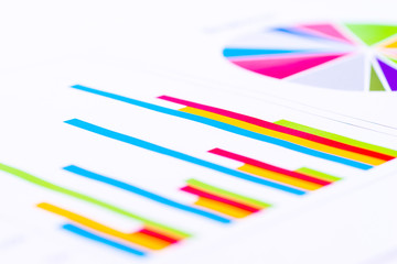 Business analysis image, colorful graphs and charts