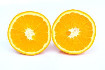 Two half sliced orange on white background