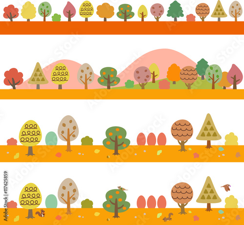 秋の木々と山のラインイラストセットfotoliacom の ストック画像と
