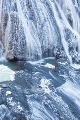 Ice waterfall in winter season Fukuroda Falls , Ibaraki prefecture , Japan