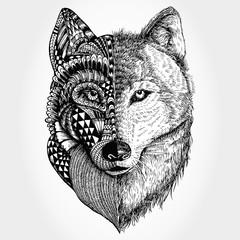 Hand drawn Wolf head zentangle stylized