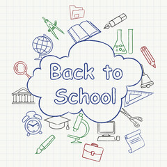 Freehand school illustration color