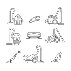 set of vacuum cleaners icon in line style