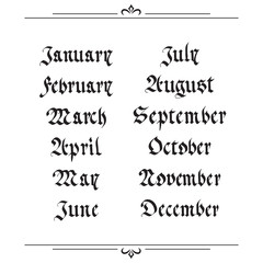 handwritten calendar in the Gothic style