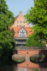 Bridge of Love and Miller House in Gdansk