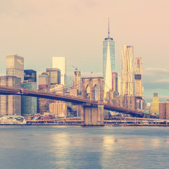 New York City - sunrise view of Manhattan, vintage colors