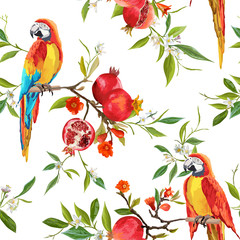 Foto op Canvas Papegaai Seamless Pattern. Pomegranate Tropical Background. Floral Pattern