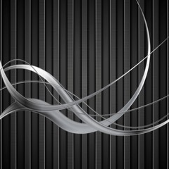 Silver metal waves on black striped background