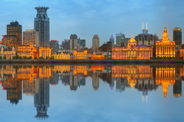 Skyline of The Bund, marvellous historical buildings and Huangpu River on sunset, Shanghai, China