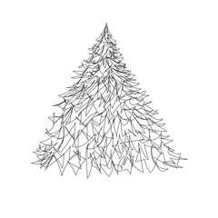 Vector Sketch Christmas Tree