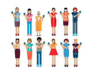 illustration isolated set of European, African-American women touch screen smartphone in hands in flat style