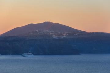 Sunrise at Santorini view of caldera