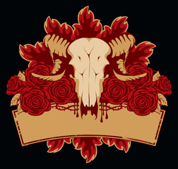 emblem with skull sheep roses and place for an inscription