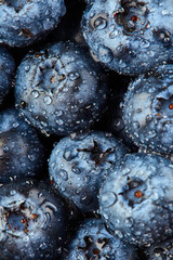 Texture of blueberries with drops of water