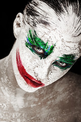 Bright custom portrait of a girl with an unusual make-up