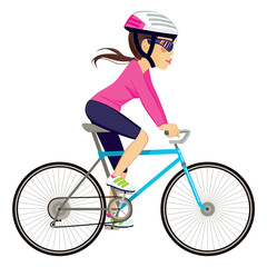 Young professional cyclist woman cycling happy riding bike