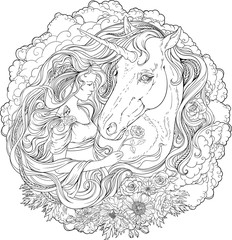 Image of unicorn and girl in clouds.